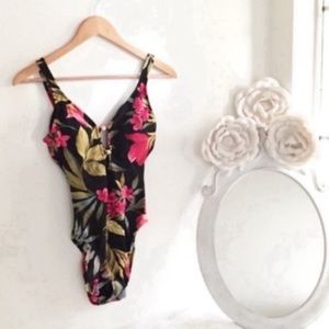 Tropical Floral One Piece Swimsuit Vintage